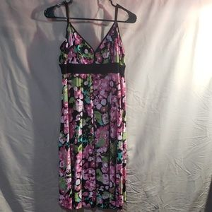Flower print pleated flare dress